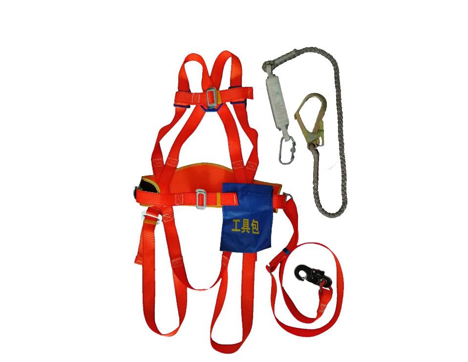 全身锦纶绳单大钩宽护腰安全带-涤纶