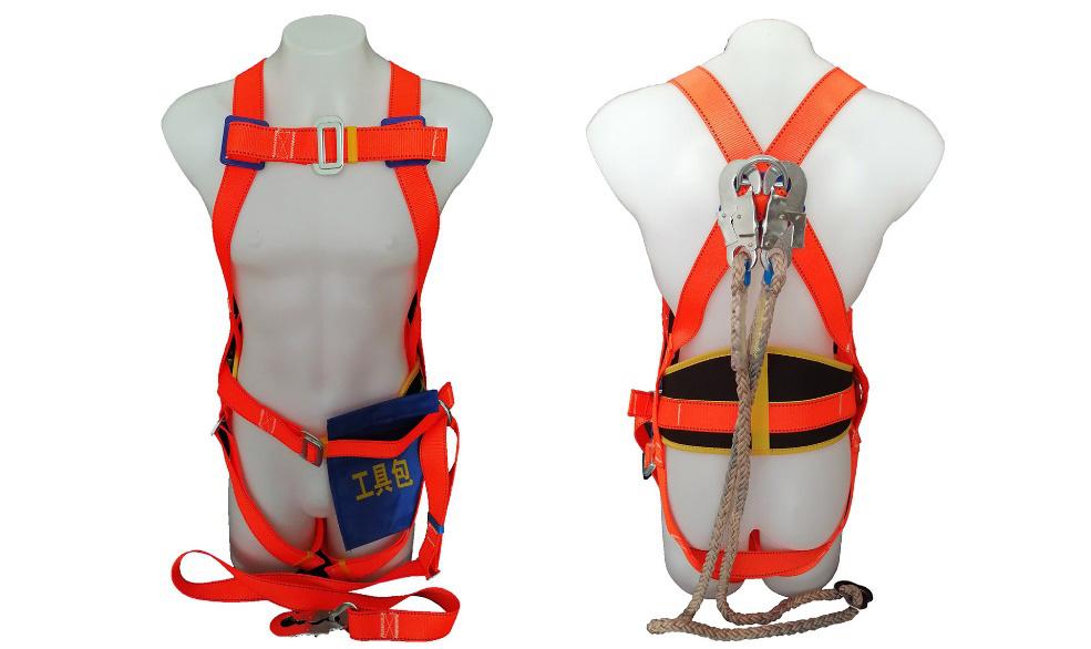 全身锦纶绳板钩宽护腰安全带-涤纶
